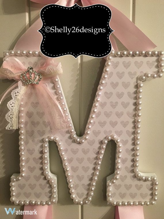 Letter Barrette Holder bow holder initial bow by Shelly26Designs