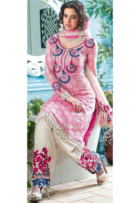 Pink Cotton Jacquard Salwar Suit Online Shopping: KGB1386