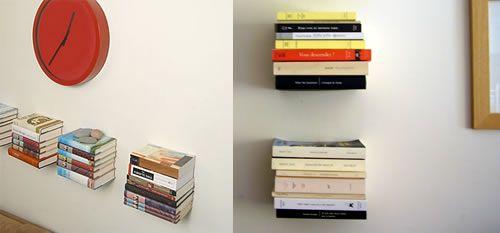 Les livres qui flottent - une astuce toute simple pour faire des étagères invisibles