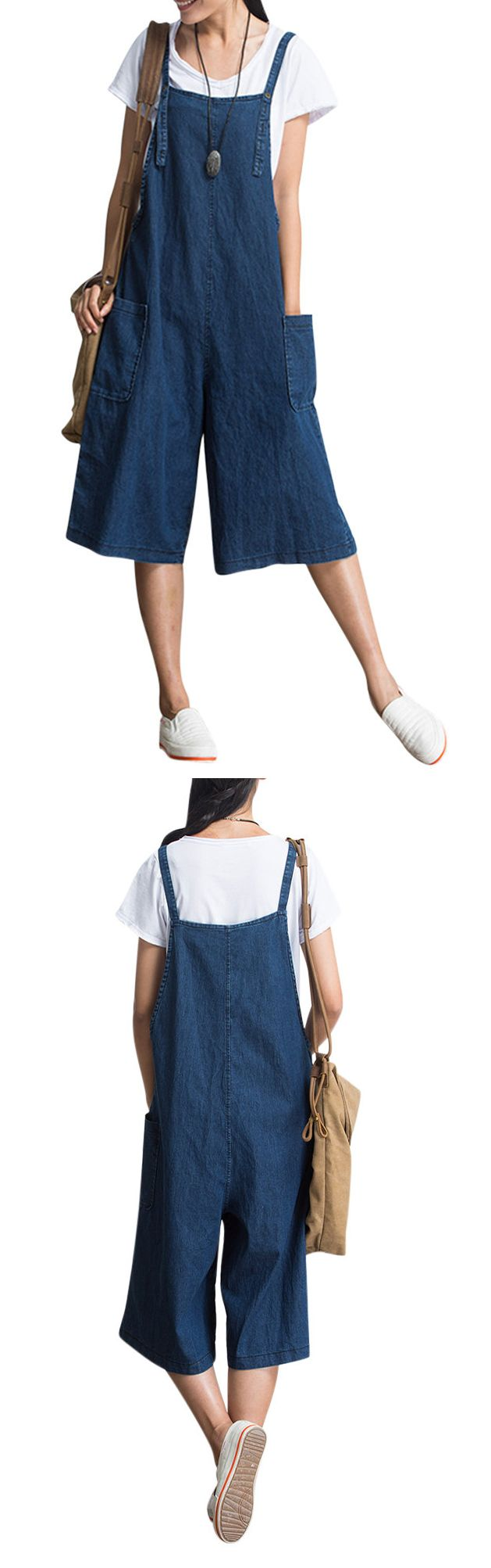 US$11.89 Loose Pure Color Strap Pocket Jumpsuit Trousers Overalls For Women