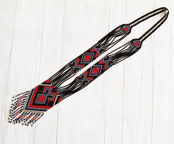 Gemini gerdan necklace Long necklace Ukrainian folk style