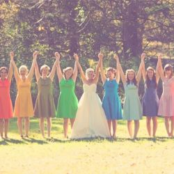 We love this trend: rainbow bridesmaid dresses! Alisah, rainbow theme :)