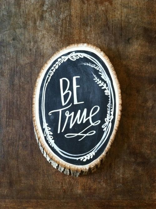 sand & then paint a wood slice with chalkboard paint and a
