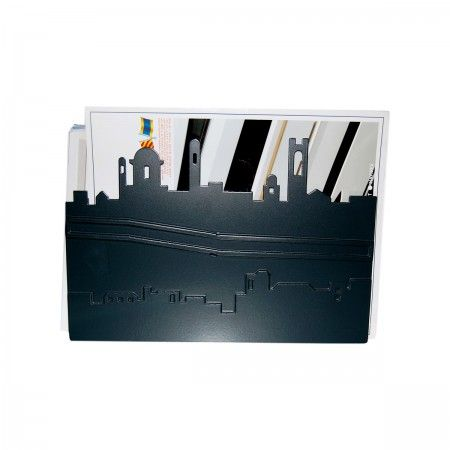 Lacrom - Giulia Bombardieri -Magazine Holder In molded and painted perforated sheet metal reproducing the skyline of the city of Bergamo.