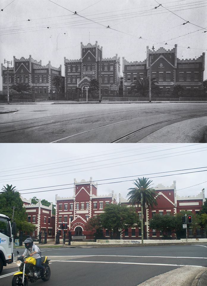 """Salvation Army Training College, Petersham 1920s <<>> 2017 Residential Area/Apartments. [""""A Pictorial History of Marrickville"""" / Marrickville Council and History Archive Centre > Andy Wenman. By Andy Prendergast]"""