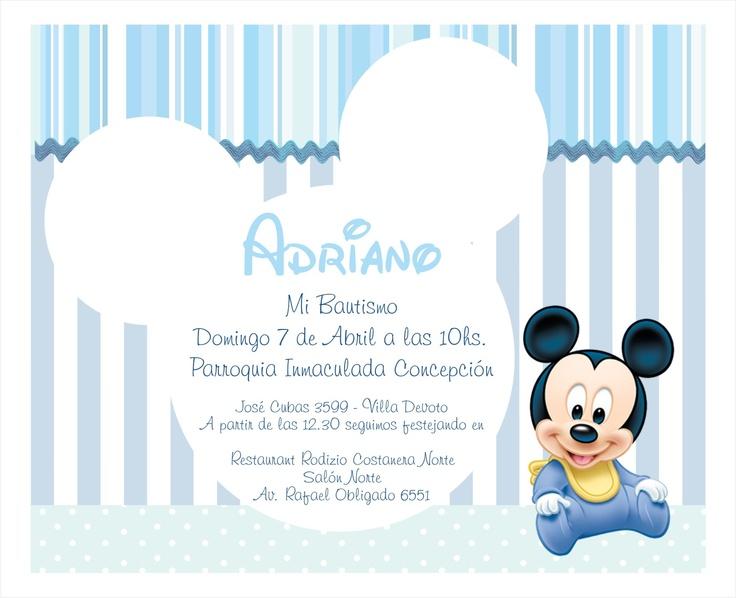 Invitación Bautismo Baby Mickey/ Adriano | Baby | Pinterest