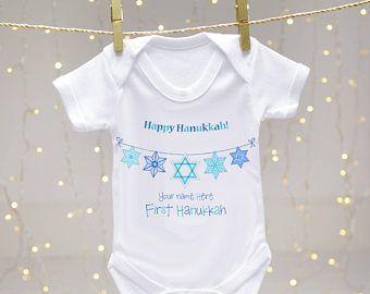 My First Hanukkah baby vest - personalised baby vest, baby body suit, Happy Hanukkah, Hanukkah bunting, romper suit, toddler baby vest, gift
