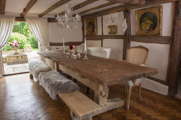 Dining Tables - Oakmasters. Rustic solid oak dining table with oak bench