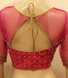 Buy Vivacious pink net and chanderi silk front and back handworked Blouse readymade-blouse online