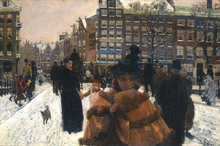 Breitner, George (Dutch, 1857-1923) - The Singel Bridge near the Paleisstraat in Amsterdam. Winter - c 1897   Flickr - Photo Sharing!