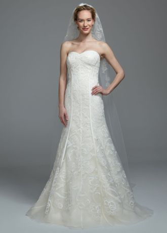 """Truly Zac Posen cathedral veil with embellishment.  One tiercathedral length veil has eye-catching lace appliques.  Veil measures 108"""" long and 72"""" wide.  Available in Ivory.  Imported."""