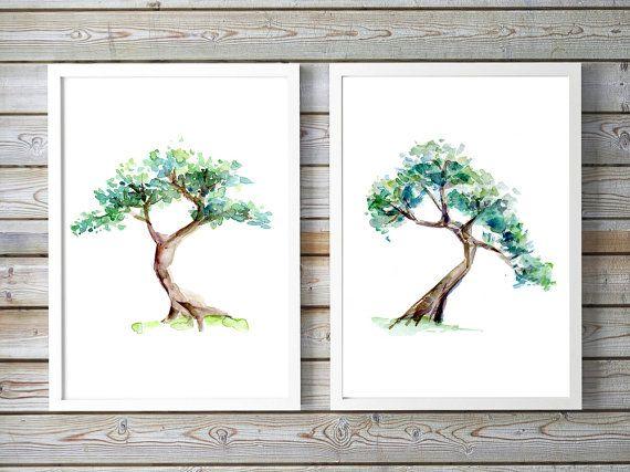 Bonsai Boom schilderij  set van 2 Giclee prints  door Zendrawing