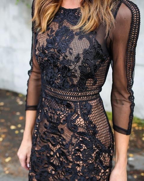 ARABELLA LACE DRESS - BLACK
