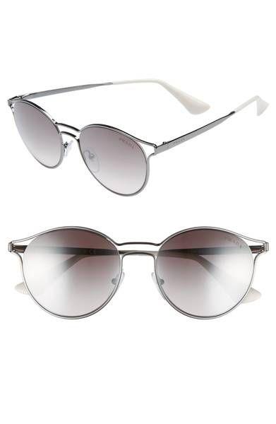 9aa0c358b458 Main Image - Prada 53mm Round Mirrored Sunglasses
