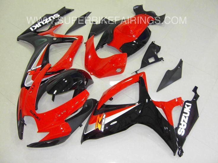 2006-2007 GSXR-600 750 Black & Red Suzuki Fairings