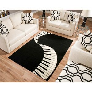 Terra Piano Rectangle Area Rug Black/White. If I ever have a front room or piano room......!! Love this !