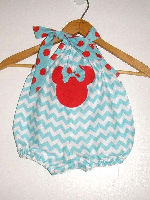 sale Minnie Mouse Romper Aqua Chevron red Polka by minnieschild