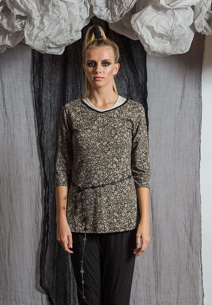 Viv 3/4 taupe yarn – Sustainable Fashion Australian made bamboo jersey. All Rant Clothing garments are ethically made in Brisbane Australia.  Sustainable Fashion