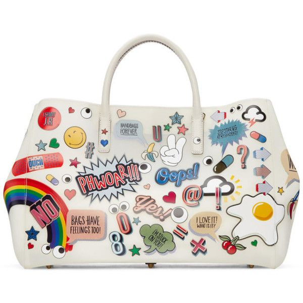 Anya Hindmarch Off-White All-Over Stickers Maxi Ebury Tote ($1,620) ❤ liked on Polyvore featuring bags, handbags, tote bags, chalk circus, anya hindmarch tote, anya hindmarch purse, studded tote, snap purse and anya hindmarch tote bag