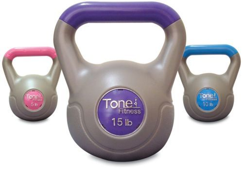 Kettlebell Set Vinyl Weight Workout Total Body Includes 5/10/15 Pounds New