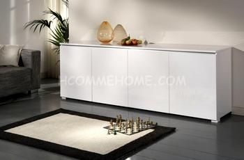 Buffet-Bahut design 4 portes BOSTON, coloris blanc laqué