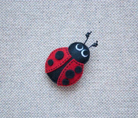 Ladybug felt brooch by suyika on Etsy