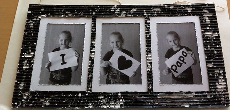 Fotolijst van rib karton schilderen spetteren met rietje