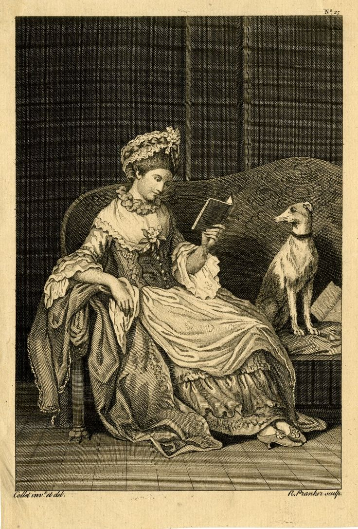 """A woman sitting on a sofa reading, a greyhound beside at right sitting upright, head turned towards her; after John Collet, orginally from a series of """"Six Whole Length Figures, cloathed in Modern Taste..."""". c.1765-75 Etching and engraving"""