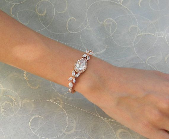 rose gold bridal bracelet crystal wedding bracelet swarovski cz rose gold wedding jewelry bridal jewelry rose gold ariel bracelet