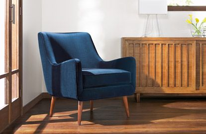 mid century modern - blue velvet chairs work with every era!