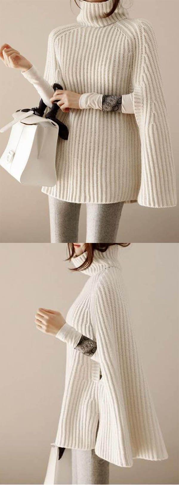Ericdress Klar Rollkragenpullover halblangen losen Pullover # Strickwaren #tops #winter #sweater