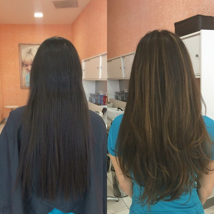 Dark brown hair with caramel balayage highlights. Brunette ...