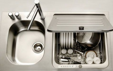 The KitchenAid stainless steel Briva in-sink dishwasher is the solution those of us diehard urban and/or apartment dwellers have been waiting for