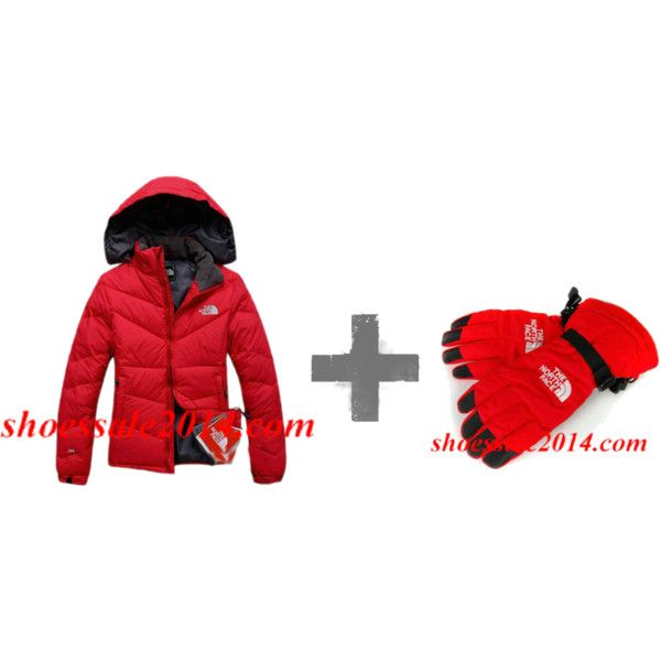"""""""Red North Face Down Jacket And Red North Face Gloves"""" by fashionace-682 on Polyvore         #cheap #nike #free"""