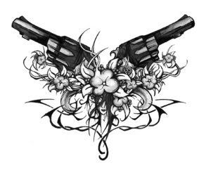 I want this tattoo!!! But instead of Revolvers I'd do handguns and I'd want roses for the flowers :)