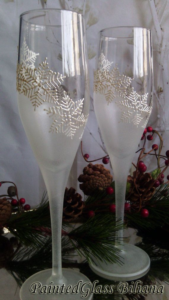 Set of 2 Winter Wedding toasting hand painted champagne flutes White snowflakes by PaintedGlassBiliana