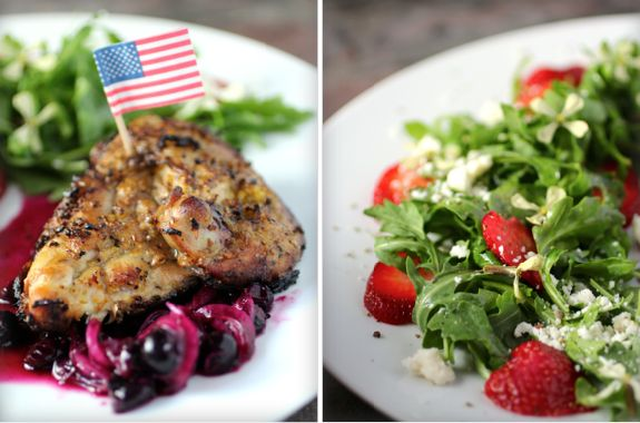 #Patriotic Grilled #Lemon Chicken, Savory #Blueberry Compote, #Strawberry Arugula Salad
