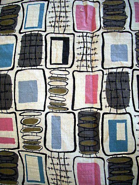 Vintage 50s Mid Century Modern Barkcloth, by TickledPinkVintage: on Etsy!