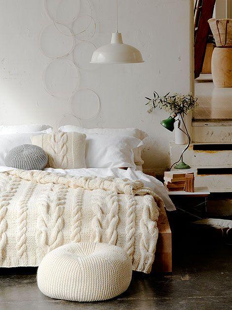 Cream and white cozy bedroom. Love the cable knit blanket. It's like