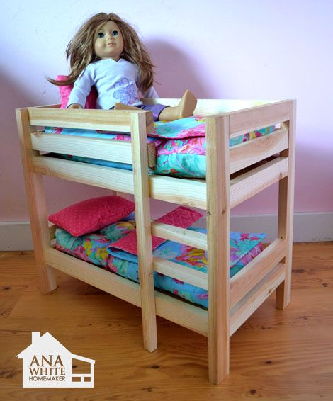 "I want to make this!  DIY Furniture Plan from Ana-White.com  Make your own doll bed for American Girl Doll or other 18"" Doll. This sturdy wood doll bed is quick and easy and inexpensive to make. Free step by step plans to DIY a doll bed for your American Girl."