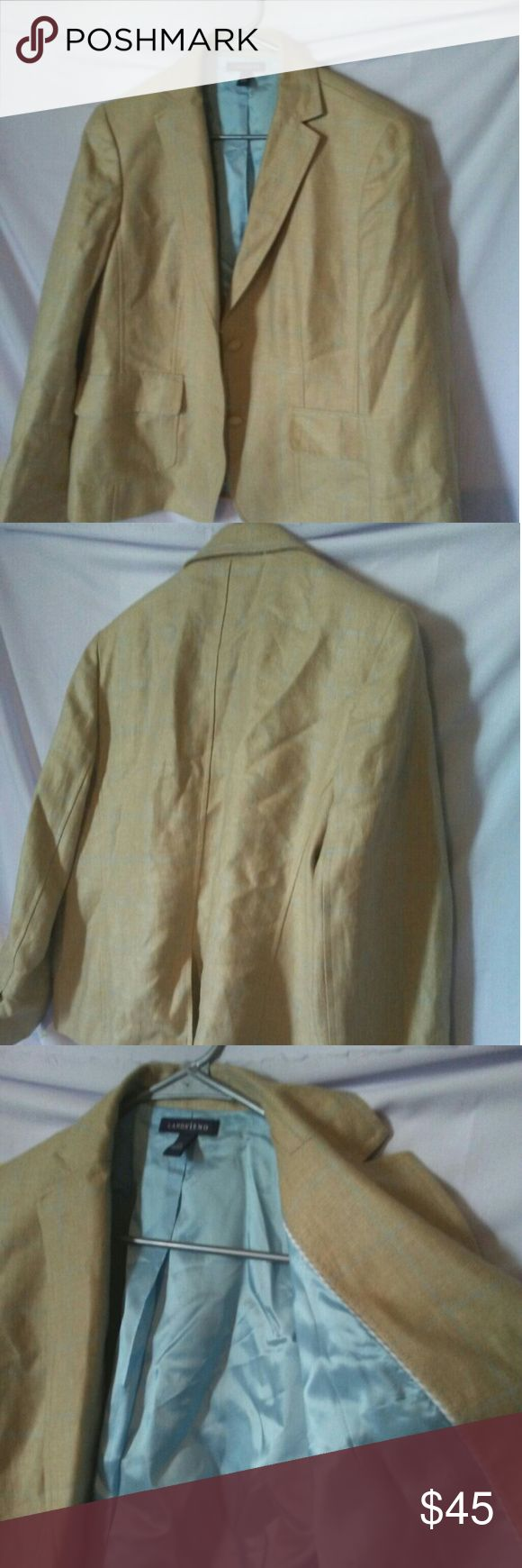 Ladies Wool Work Blazer with Light Blue Lining Tan wool work blazer with light blue lining.   This coat has a brown and blue plaid pattern with tan buttons and a light blue lining.   In great condition! Will be ironed before shipping. Lands' End Jackets & Coats Blazers