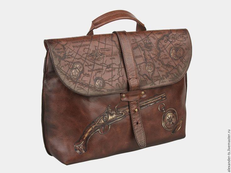 """Купить Портфель """"Карта сокровищ"""" - рисунок, портфель мужской, портфель через плечо"""
