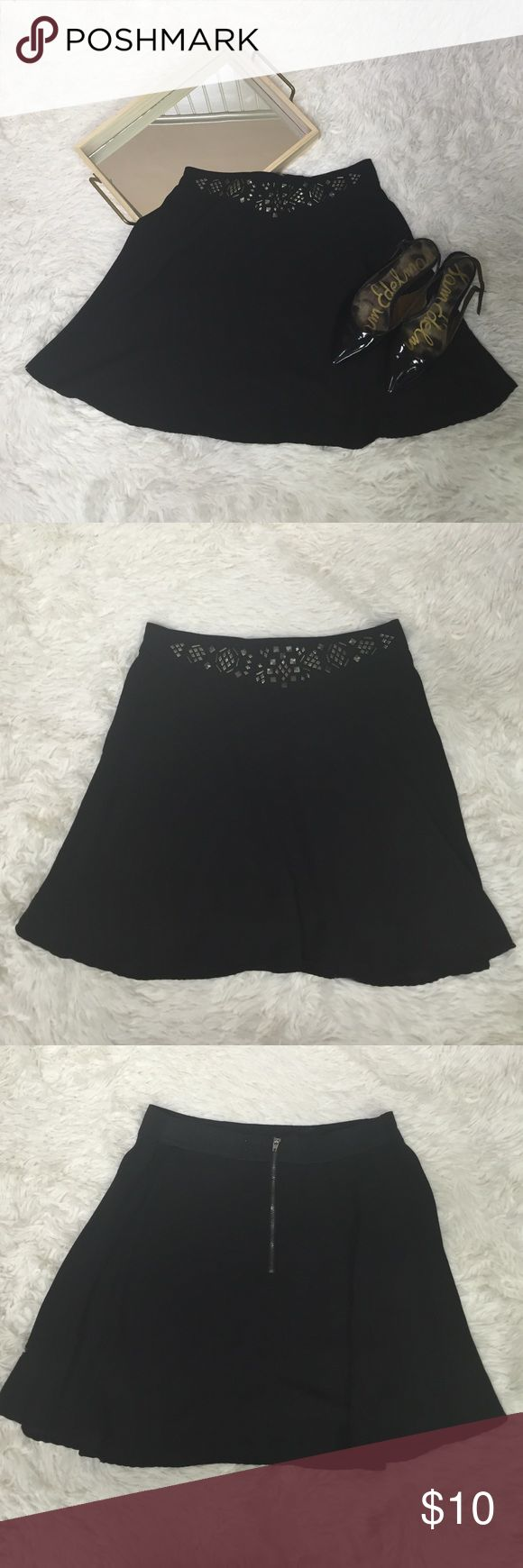 Anthropologie Silence + Noise embellished skirt Anthropology silence + noise embellished black skirt. Size large laying flat measures hip to hip 14 inches unstretched. The whole back of the skirt has elastic that stretches and a zipper. It measures top to bottom 17 inches. silence + noise Skirts