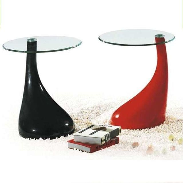 Mesas Auxiliares De Dise O, Armaz N Abs, Color Rojo, Tapa De Cristal  Templado, Di Metro: 45 Cms, Altura: 55 Cms. Coffee Glass Table, Glass Table  Top, ...