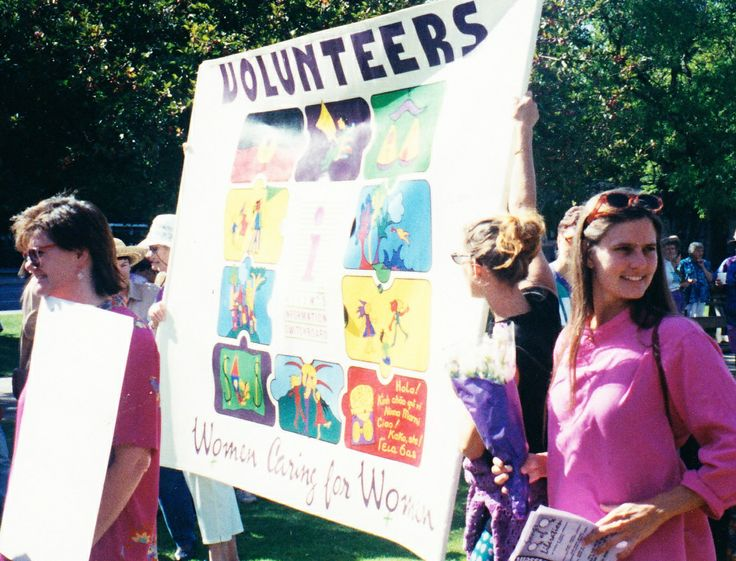 """""""It seemed important that we participate in the International Women's Day march and this provided the initial inspiration for the production of a volunteer's banner. The march and picnic seemed a fine opportunity to advertise WIS and... for other women to become involved as volunteers."""" Joanne, Volunteer"""