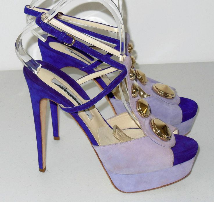 Brian Atwood Heels (Pre-owned Clizia Lilac Purple Suede & Leather T-Strap Platform Sandals)