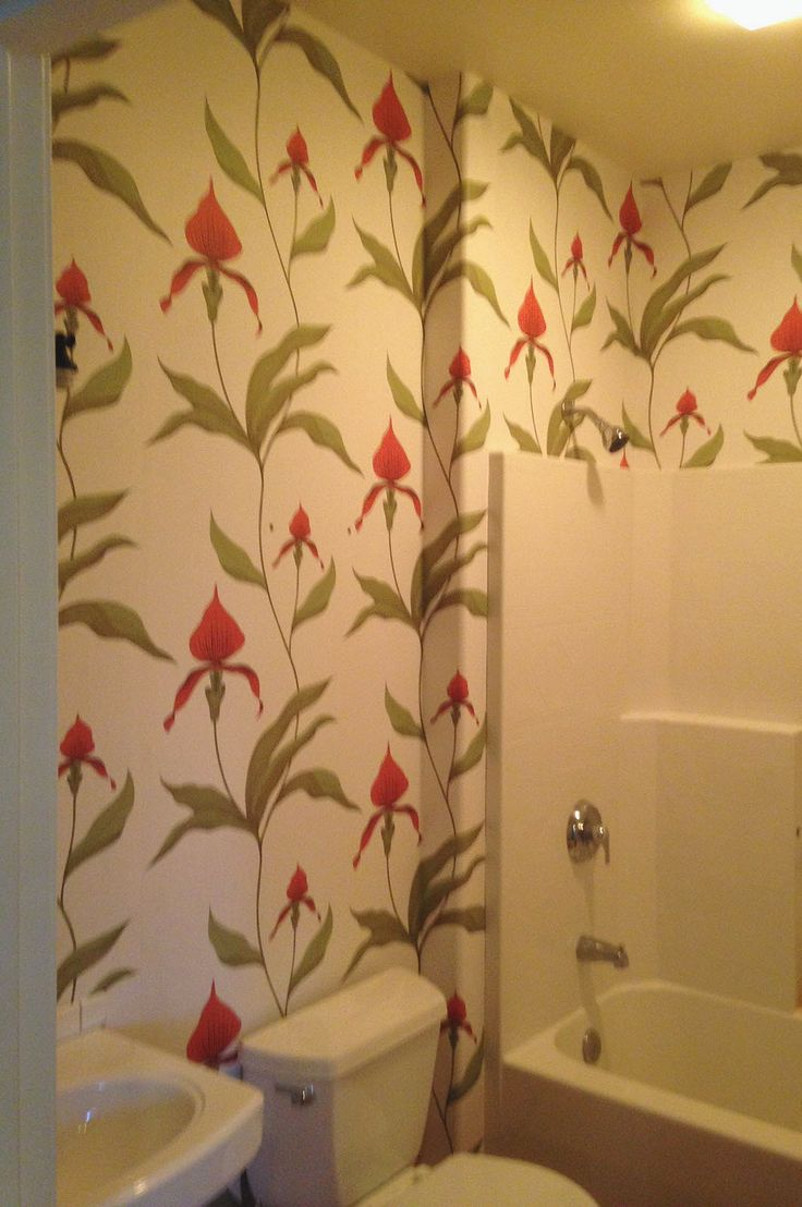 Lovely Vibrant Floral Wallpaper Livens Up This Small Bathroom   This Is A  Project We Did