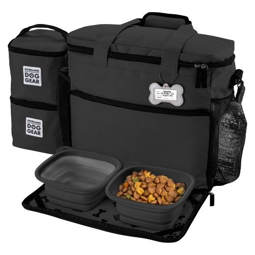 Overland Canine Gear Journey Bag – Week Away Bag for Medium & Giant Canine with 2 Meals Carriers, Placemat & 2 Bowls