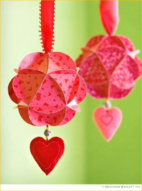 diy paper orb ornaments for valentines day