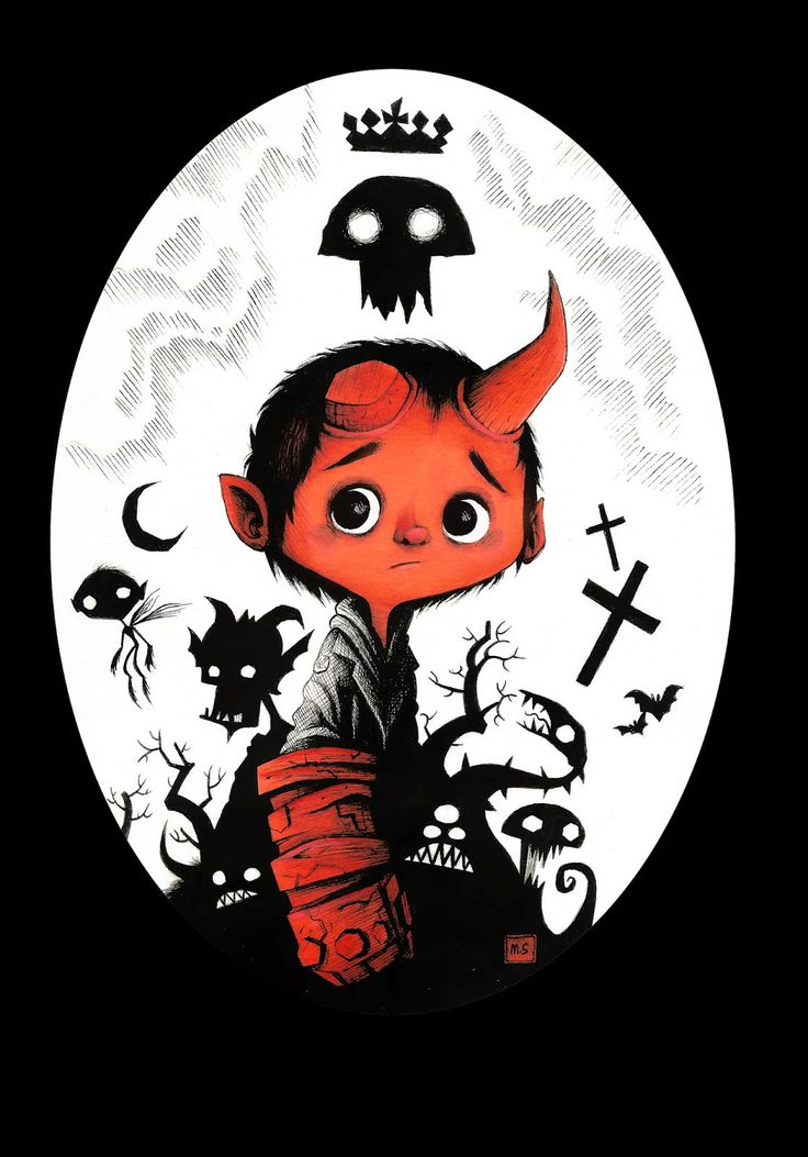 An illustration by Seb Mesnard, which will be part of a tribute art show in Los Angeles on May 2nd, celebrating the 20th anniversary of Mike Mignola's creation, Hellboy.